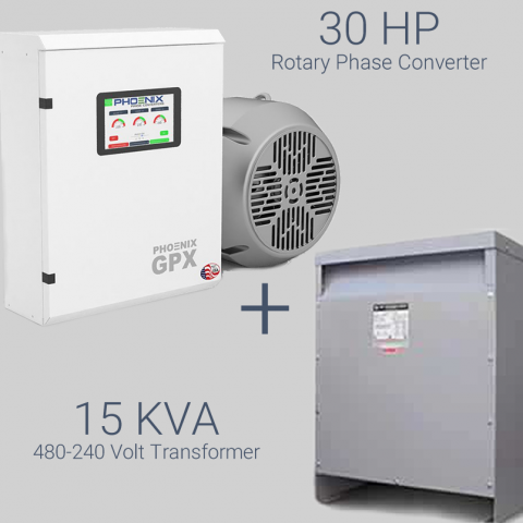 30HP Phase Converter / Transformer Package - 230V Single Phase to 460V 3 Phase