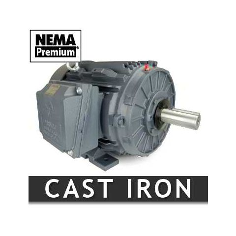 125 HP Three Phase Cast Iron Motor - Frame: 444TS - RPM: 3600