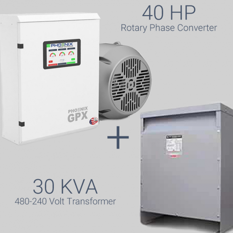 40HP Phase Converter / Transformer Package - 230V Single Phase to 460V 3 Phase